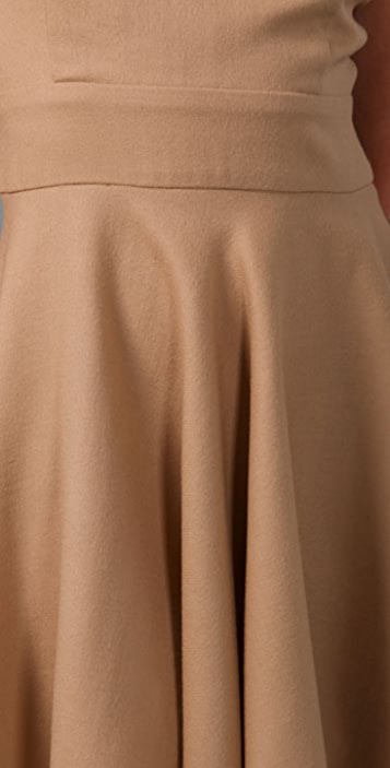 Porter Grey Open Back Wool Dress with Circle Skirt