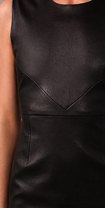 Porter Grey Sleeveless Leather Dress