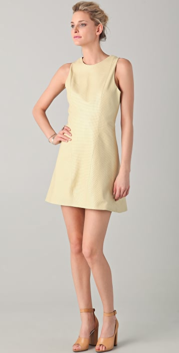 Porter Grey Perforated Leather A Line Dress