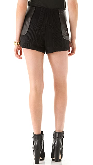 Porter Grey Mini Shorts with Leather