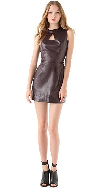 Porter Grey Cutout Leather Dress