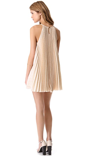 Porter Grey Pleated Trapeze Dress