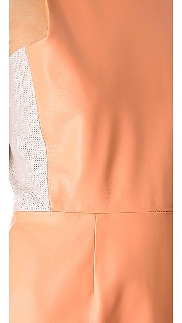 Porter Grey Leather Contrast Dress