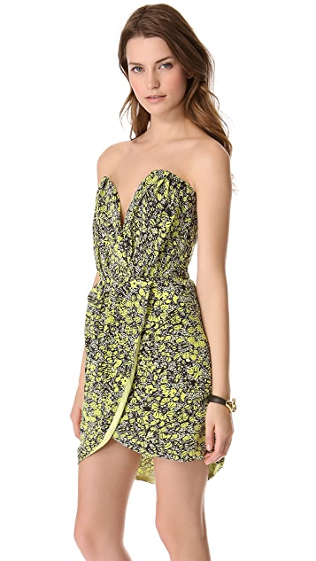 Porter Grey Printed Strapless Dress