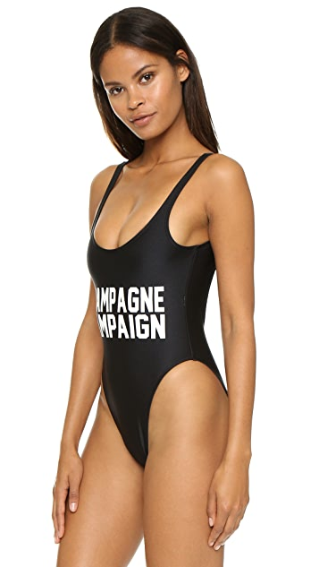 Private Party Champagne Campaign One Piece Bathing Suit