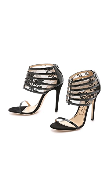 Prabal Gurung Leather & Lace Sandals