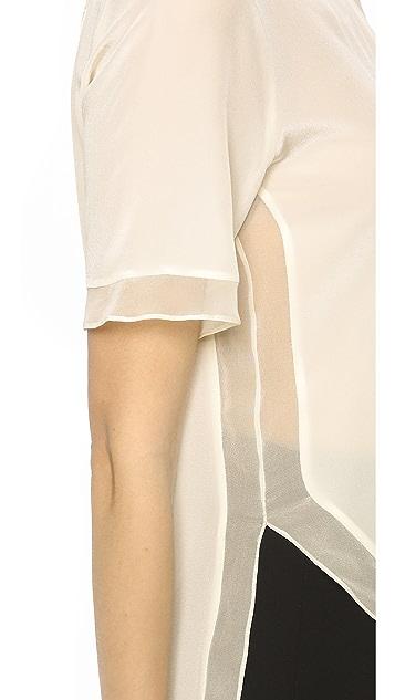 Prabal Gurung Short Sleeve Silk Blouse
