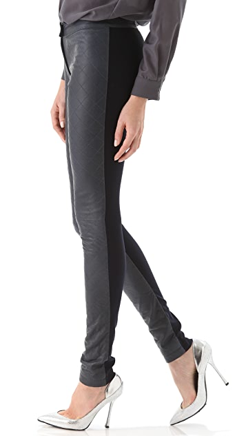 Preen By Thornton Bregazzi Line Quilted Leather Pants