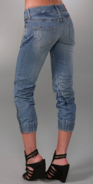 PRPS Japan Elastic Zip Cropped Jeans