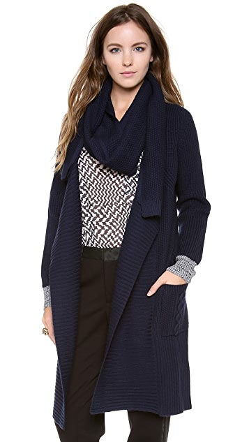 Paul Smith Black Label Cable Knit Cardigan with Scarf
