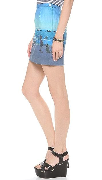 Paul Smith Black Label Beach Print Skirt