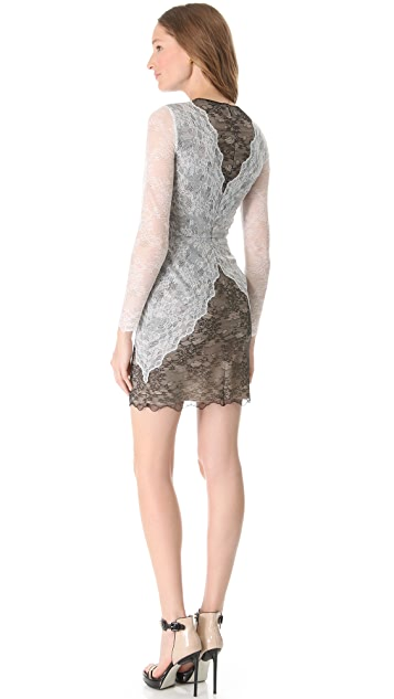 Peter Som Long Sleeve Lace Dress
