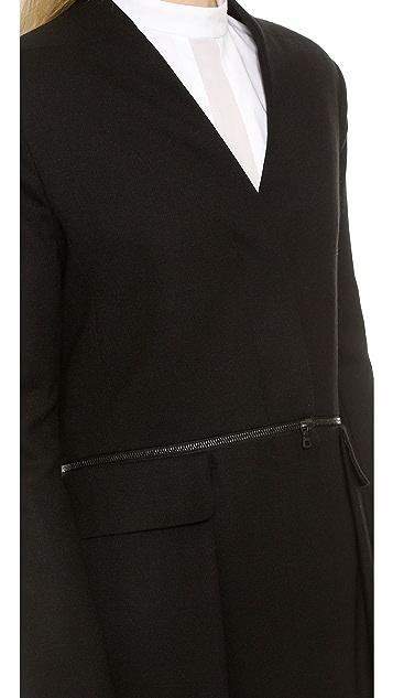 Public School Long Jacket with Waist Zipper Detail