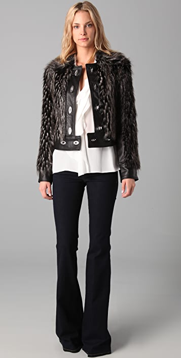 Rachel Zoe Zoe Fur Lock Leather Jacket