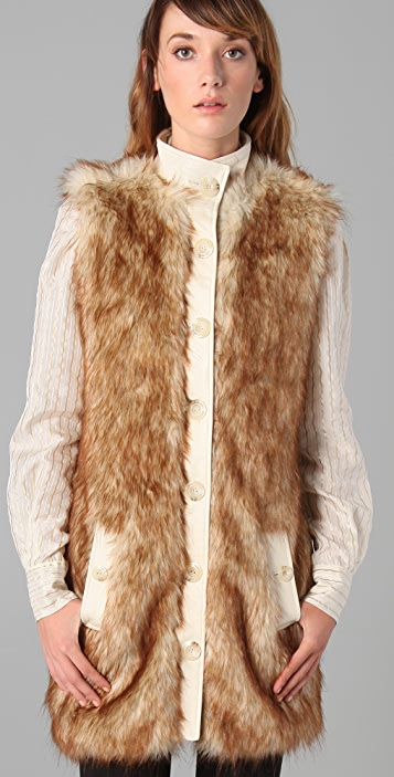 Rachel Zoe Long Faux Fur Vest