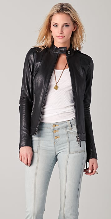 Rachel Zoe Jimmy Trapunto Leather Jacket