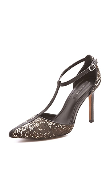 Rachel Zoe Karolina Haircalf T Strap Pumps