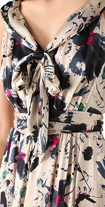 Rachel Zoe Natasha Scarf Collar Gown