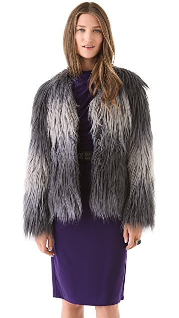 Rachel Zoe Brooklyn Ombre Faux Fur Coat