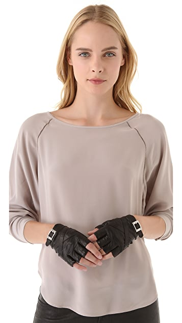 Rachel Zoe Fingerless Gloves with Straps & Buckle