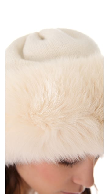 Rachel Zoe Fox Trim Knit Cap