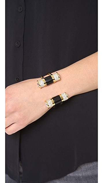 Rachel Zoe Doble Crystal Barrel Cuff Bracelet