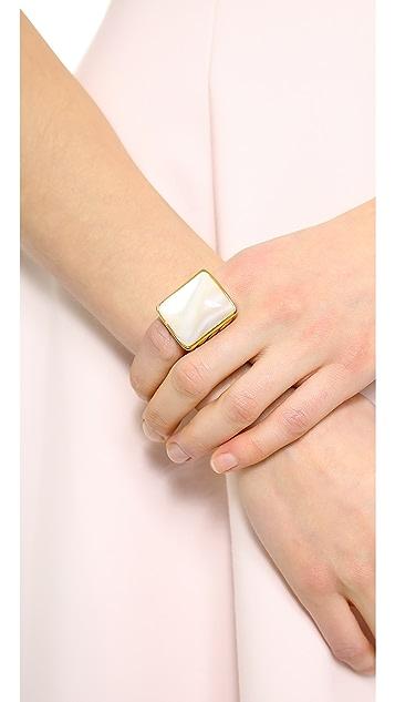 Rachel Zoe Safari Mother of Pearl Rectangle Ring