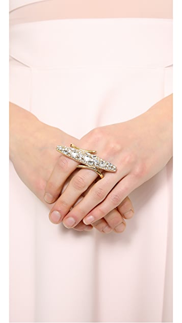 Rachel Zoe Pave Pod Double Finger Ring