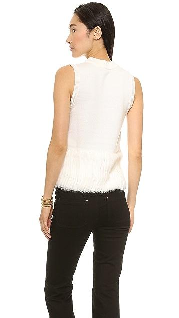 Rachel Zoe Rosalie Fur Banded Tank Sweater