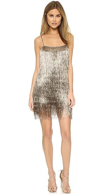 Rachel Zoe Металлизированное мини-платье Della с бахромой