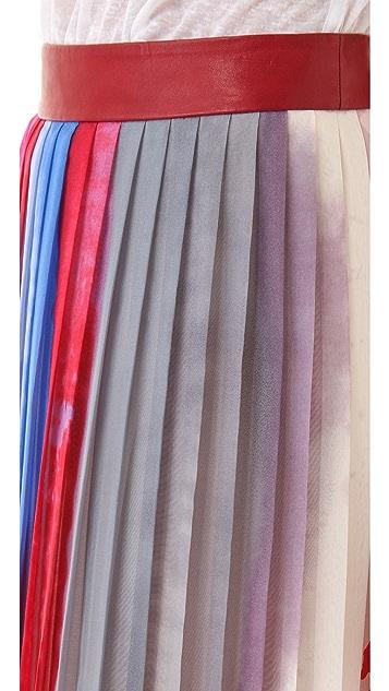 Rag & Bone Cecil Pleated Maxi Skirt with Leather Waistband