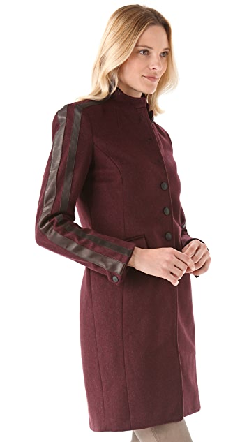 Rag & Bone Maharaja Coat w Leather Stripe