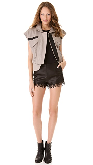 Rag & Bone High Clare Leather Shorts