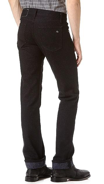 Rag & Bone RB15X Black Nap Slim Straight Jeans