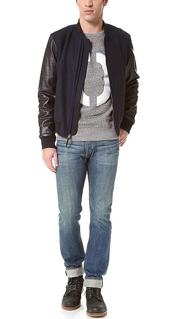 Rag & Bone Bastion Wool/Leather Sleeve Varsity Jacket