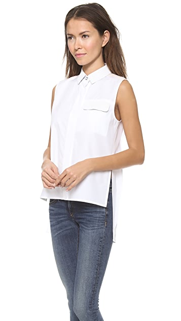 Rag & Bone Woodward Leather Pocket Top