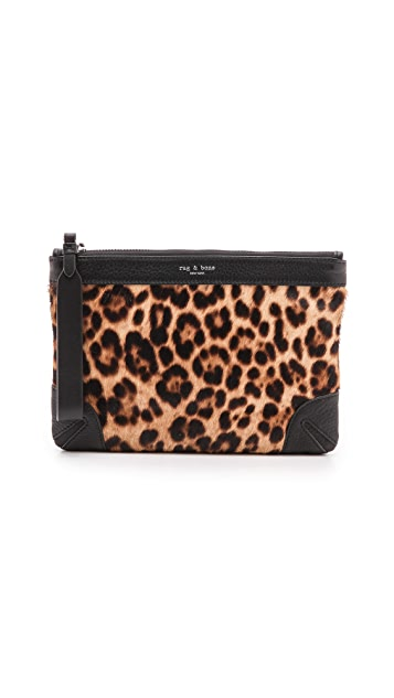 Rag & Bone Haircalf Flat Zip Pouch