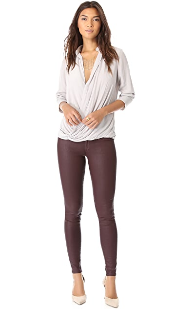 Ramy Brook Mia Long Sleeve Draped Blouse