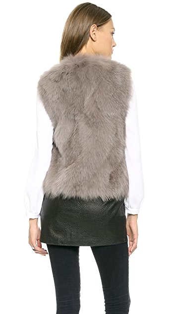 Ramy Brook Fur & Leather Vest