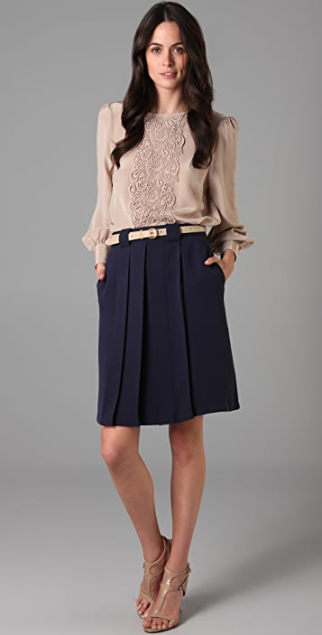 Raoul Full Sleeve Lace Panel Blouse