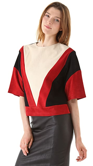 Raoul Suede Colorblock Blouse
