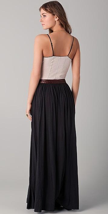 Raquel Allegra Micro Stripe Contrast Maxi Dress