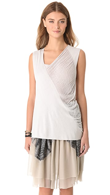 Raquel Allegra Diagonal Shred Muscle Tee