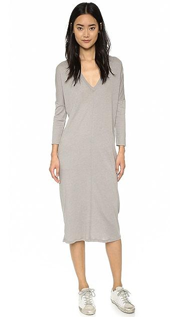 Raquel Allegra Простое платье с V-образным вырезом