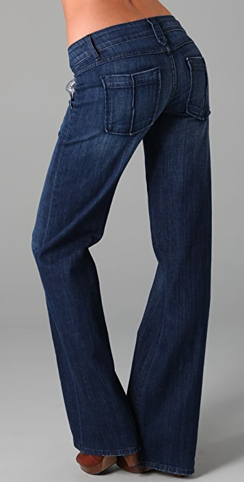 Raven Denim Aubrey Wide Leg Jeans with Twisted Pintucks