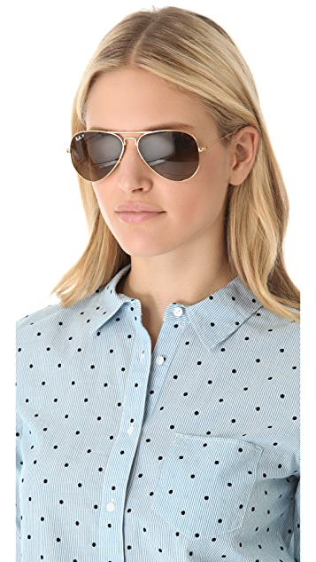 Ray-Ban Polarized Folding Aviator Sunglasses