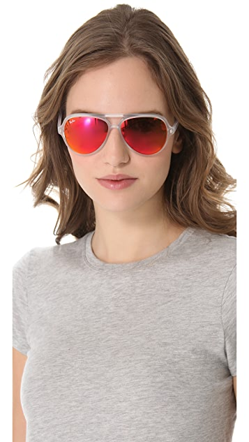 ray ban mirrored cats 5000 aviator sunglasses shopbop. Black Bedroom Furniture Sets. Home Design Ideas
