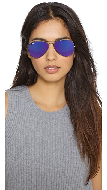 Ray-Ban Mirrored Aviator Sunglasses