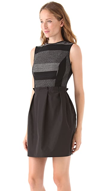 Richard Chai Love Sleeveless Dress with Taffeta Skirt