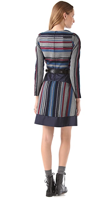 Richard Chai Love Wide Pleat Dress with Taffeta